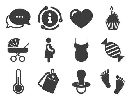 Candy, baby carriage and pacifier signs. Discount offer tag, chat, info icon. Pregnancy, maternity and baby care icons. Footprint, cake and thermometer symbols. Classic style signs set. Vector 向量圖像
