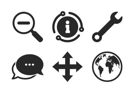 Fullscreen arrows and wrench key repair sign symbols. Chat, info sign. Magnifier glass and globe search icons. Classic style speech bubble icon. Vector Stok Fotoğraf - 133849404