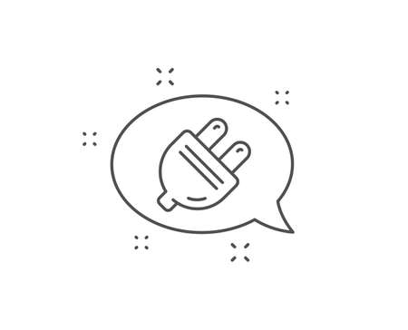 Electric plug line icon. Chat bubble design. Energy sign. Electricity power symbol. Outline concept. Thin line electric plug icon. Vector 向量圖像