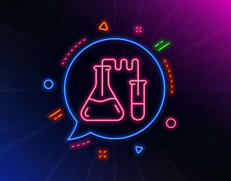 Medicine chemistry lab line icon. Neon laser lights. Medical laboratory sign. Glow laser speech bubble. Neon lights chat bubble. Banner badge with chemistry lab icon. Vector Ilustração