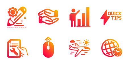 Swipe up, Project edit and Helping hand line icons set. Graph chart, Repair document and Airplane travel signs. Quickstart guide, Time zone symbols. Scrolling page, Settings. Business set. Vector Ilustração