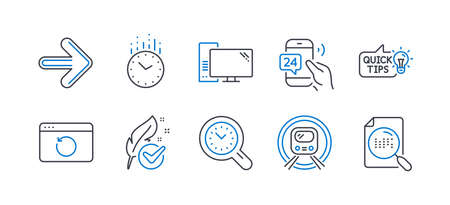Set of Technology icons, such as Education idea, Recovery internet, Next, Time, Hypoallergenic tested, 24h service, Computer, Metro subway, Time management, Search file line icons. Vector