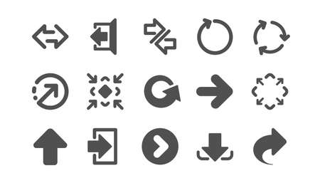 Arrow icons. Download, Synchronize and Share. Navigation classic icon set. Quality set. Vector Illustration