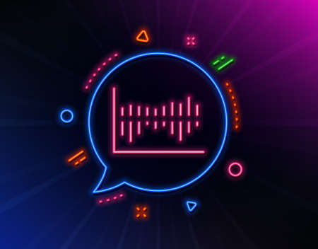 Column chart line icon. Neon laser lights. Financial graph sign. Stock exchange symbol. Business investment. Glow laser speech bubble. Neon lights chat bubble. Vector Archivio Fotografico - 133849496