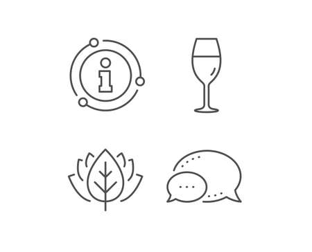 Wine glass line icon. Chat bubble, info sign elements. Burgundy glass sign. Linear wineglass outline icon. Information bubble. Vector Illustration