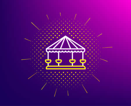 Carousels line icon. Halftone pattern. Amusement park sign. Gradient background. Carousels line icon. Yellow halftone pattern. Vector Illustration