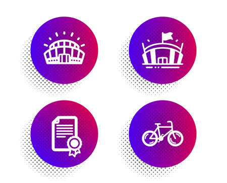 Sports stadium, Arena and Certificate icons simple set. Halftone dots button. Bicycle sign. Championship arena, Sport stadium, Diploma. Bike. Sports set. Classic flat sports stadium icon. Vector