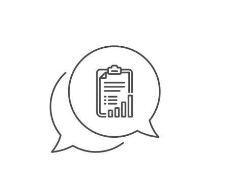 Checklist line icon. Chat bubble design. Graph chart sign. Growth diagram symbol. Outline concept. Thin line checklist icon. Vector