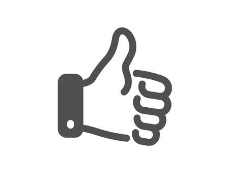 Thumbs up finger sign. Like hand icon. Gesture symbol. Classic flat style. Simple like hand icon. Vector