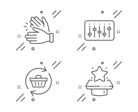 Dj controller, Clapping hands and Refresh cart line icons set. Winner podium sign. Musical device, Clap, Online shopping. First place. Business set. Line dj controller outline icon. Vector