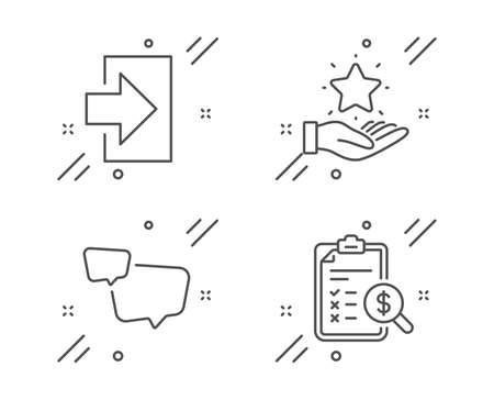 Login, Speech bubble and Loyalty program line icons set. Accounting report sign. Sign in, Chat message, Bonus star. Check finance. Technology set. Line login outline icon. Vector