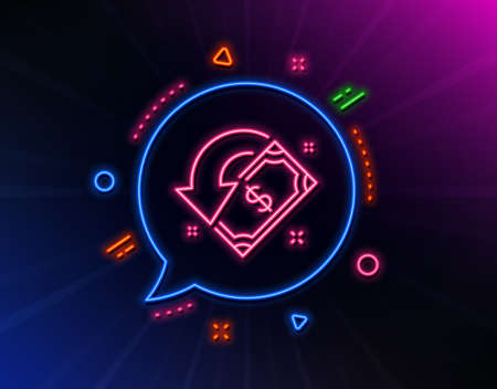 Cashback line icon. Neon laser lights. Send or receive money sign. Glow laser speech bubble. Neon lights chat bubble. Banner badge with cashback icon. Vector