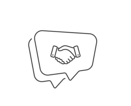 Employees handshake line icon. Chat bubble design. Hand gesture sign. Business deal palm symbol. Outline concept. Thin line employees handshake icon. Vector