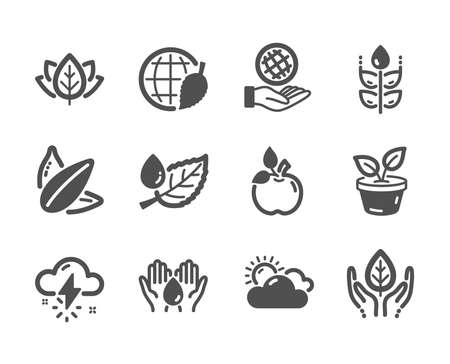 Set of Nature icons, such as Leaf dew, Safe planet, Fair trade, Eco food, Thunderstorm weather, Leaves, Environment day, Organic tested, Sunflower seed, Safe water, Gluten free. Leaf dew icon. Vector