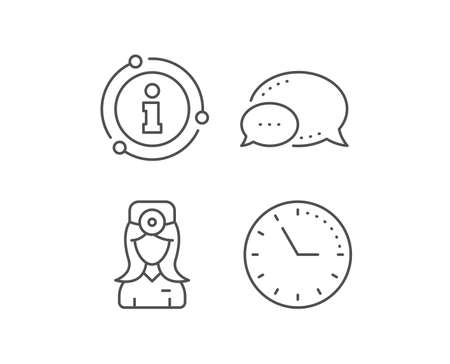 Oculist doctor line icon. Chat bubble, info sign elements. Health eye sign. Optometry clinic symbol. Linear oculist doctor outline icon. Information bubble. Vector