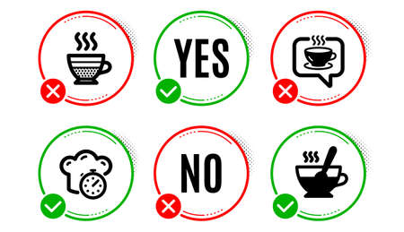 Cafe creme, Cooking timer and Coffee icons simple set. Yes no check box. Tea cup sign. Hot coffee, Stopwatch, Cafe. Food and drink set. Cafe creme icon. Check mark. Vector