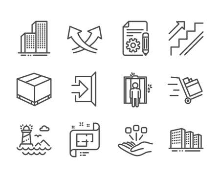 Set of Industrial icons, such as Architectural plan, Consolidation, Documentation, Elevator, Intersection arrows, Exit, Stairs, Skyscraper buildings, Delivery box, Buildings, Push cart. Vector Reklamní fotografie - 133849535
