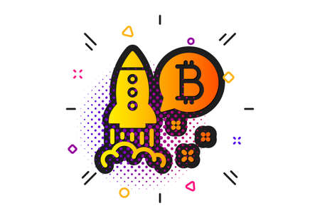 Cryptocurrency startup sign. Halftone circles pattern. Bitcoin icon. Crypto rocket symbol. Classic flat bitcoin project icon. Vector Stok Fotoğraf - 133849536