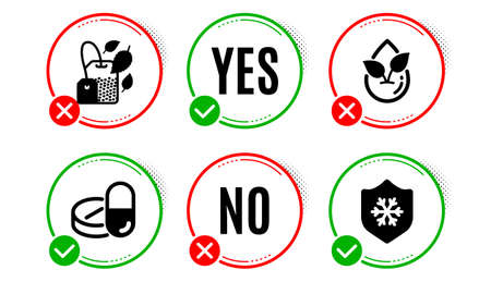 Organic product, Mint bag and Medical drugs icons simple set. Yes no check box. Clean skin sign. Leaf, Mentha tea, Medicine pills. Cold protect. Healthcare set. Organic product icon. Vector Stok Fotoğraf - 133849547