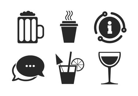Take away coffee cup and glass of beer symbols. Chat, info sign. Drinks icons. Wine glass and cocktail signs. Classic style speech bubble icon. Vector Stok Fotoğraf - 133849551