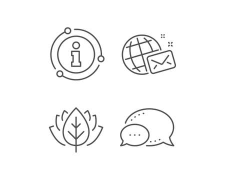 World mail line icon. Chat bubble, info sign elements. Web letter sign. Send message symbol. Linear world mail outline icon. Information bubble. Vector