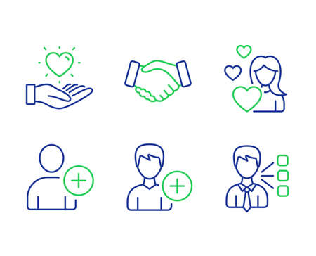 Add user, Handshake and Hold heart line icons set. Love, Add person and Third party signs. Profile settings, Deal hand, Love brand. Edit user data. People set. Line add user outline icons. Vector