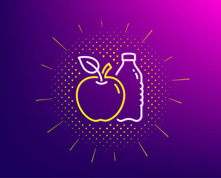 Apple line icon. Halftone pattern. Fruit, water bottle sign. Natural food symbol. Gradient background. Apple line icon. Yellow halftone pattern. Vector Illustration