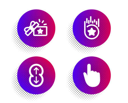Loyalty star, Loyalty gift and Scroll down icons simple set. Halftone dots button. Hand click sign. Bonus reward, Bonus award, Swipe arrow. Location pointer. Business set. Vector