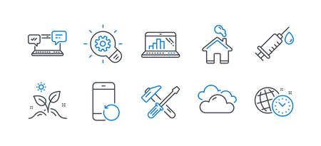 Set of Business icons, such as Recovery phone, Graph laptop, Cloudy weather, Cogwheel, Internet chat, Grow plant, Home, Hammer tool, Medical syringe, Time management line icons. Vector Reklamní fotografie - 133849565