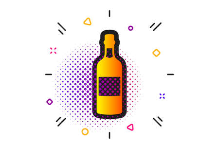 Whiskey alcohol sign. Halftone circles pattern. Brandy bottle icon. Classic flat brandy bottle icon. Vector