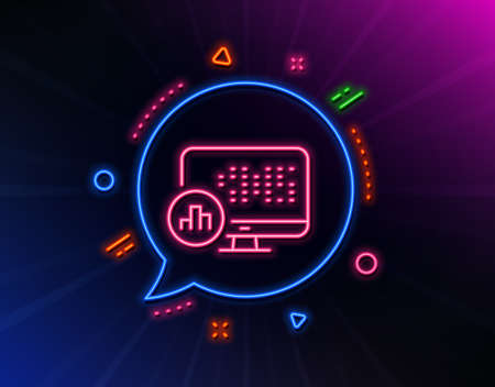 Report statistics line icon. Neon laser lights. Column graph sign. Growth diagram symbol. Glow laser speech bubble. Neon lights chat bubble. Banner badge with report statistics icon. Vector Archivio Fotografico - 133849574