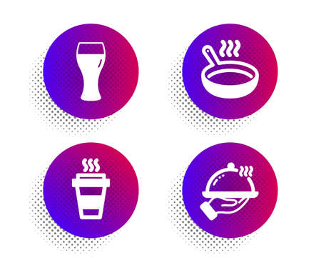Beer glass, Frying pan and Takeaway icons simple set. Halftone dots button. Restaurant food sign. Brewery beverage, Cooking utensil, Takeout coffee. Room service. Food and drink set. Vector 向量圖像