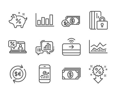 Set of Finance icons, such as Contactless payment, Report diagram, Banking, Dollar money, Blocked card, Discount, Online loan, Money currency, Graph chart, Trade infochart, Loan percent. Vector Reklamní fotografie - 133849578