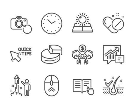 Set of Science icons, such as Medical pills, Quick tips, Time, Swipe up, Anti-dandruff flakes, Pie chart, Accounting, Fireworks, Recovery photo, Sharing economy, Sun energy line icons. Vector Illustration