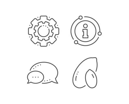 Peanut line icon. Chat bubble, info sign elements. Tasty nut sign. Vegan food symbol. Linear peanut outline icon. Information bubble. Vector Stock fotó - 133849581