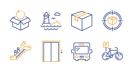 Parcel tracking, Return package and Lighthouse line icons set. Lift, Parcel and Escalator signs. Bus, Bicycle parking symbols. Box in target, Exchange goods. Transportation set. Vector 矢量图像