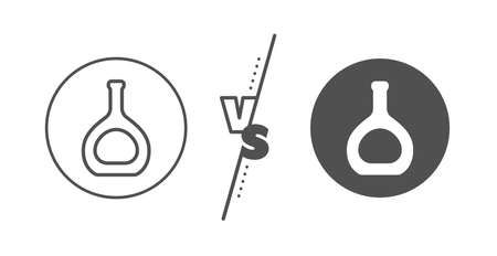 Brandy alcohol sign. Versus concept. Cognac bottle line icon. Line vs classic cognac bottle icon. Vector