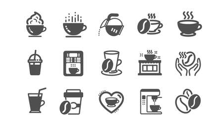Coffee icons. Beans, hot cocktail and coffee maker machine. Espresso cup, cappuccino icons. Latte vending machine and roasted beans. Classic set. Quality set. Vector Illustration