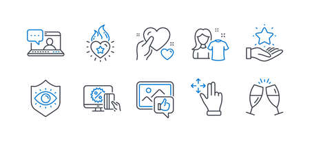 Set of People icons, such as Like photo, Clean shirt, Friends chat, Loyalty program, Online shopping, Move gesture, Eye protection, Hold heart, Heart flame, Champagne glasses line icons. Vector