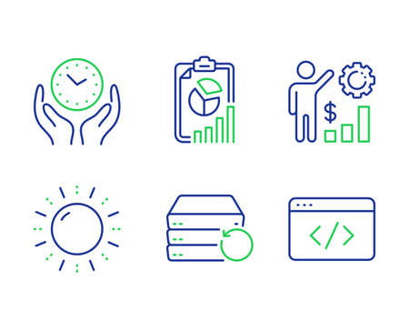 Employees wealth, Recovery server and Sun energy line icons set. Report, Safe time and Seo script signs. Results chart, Backup data, Solar power. Presentation chart. Science set. Vector