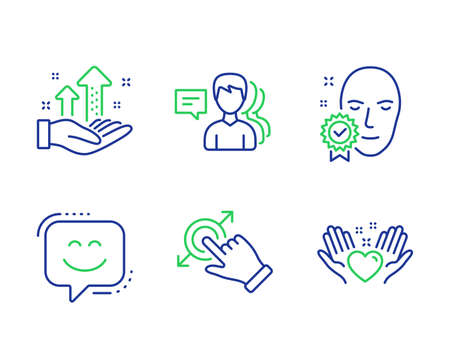 People, Face verified and Smile face line icons set. Touchscreen gesture, Analysis graph and Hold heart signs. Support job, Access granted, Chat. Drag drop. People set. Vector