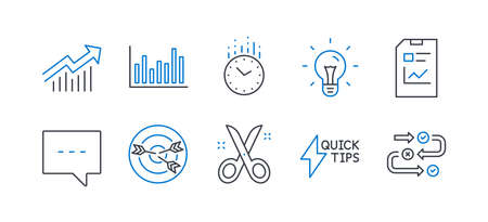Set of Education icons, such as Demand curve, Blog, Quickstart guide, Bar diagram, Targeting, Scissors, Idea, Time, Report document, Survey progress line icons. Line demand curve icon. Vector Reklamní fotografie - 133849649
