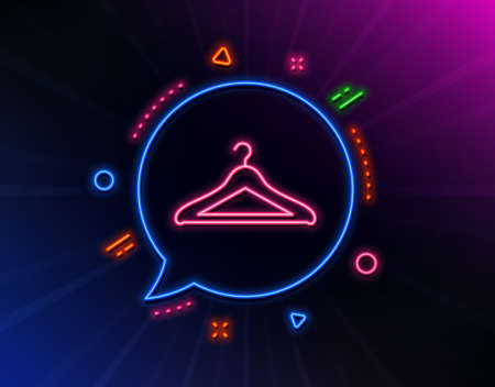 Cloakroom line icon. Neon laser lights. Hanger wardrobe sign. Clothes service symbol. Glow laser speech bubble. Neon lights chat bubble. Banner badge with cloakroom icon. Vector