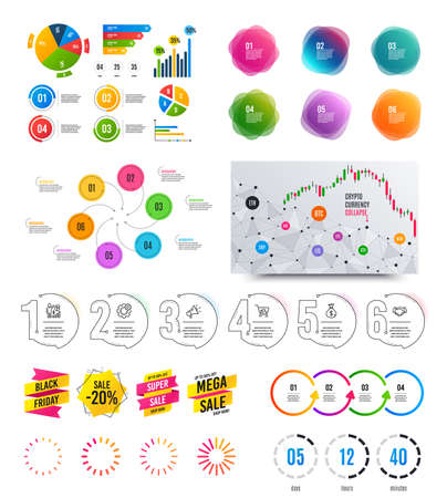 Infographic elements. Financial graph, timelines, options banner badges. Sale discount shapes, countdown timer. Analytics chart, timeline infographics. Offer layout page. Vector graphs and charts Archivio Fotografico - 133849661