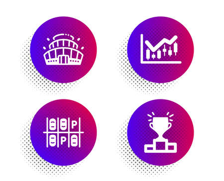 Parking place, Financial diagram and Arena stadium icons simple set. Halftone dots button. Winner podium sign. Transport, Candlestick chart, Competition building. Competition results. Vector