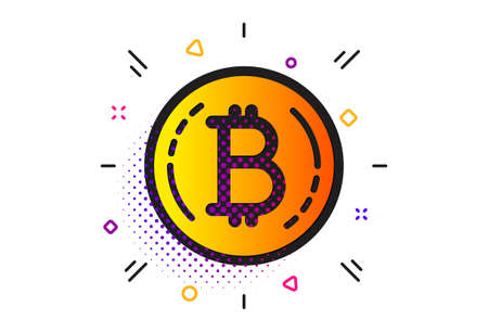 Cryptocurrency coin sign. Halftone circles pattern. Bitcoin icon. Crypto money symbol. Classic flat bitcoin icon. Vector Çizim