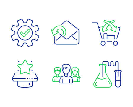 Send mail, Service and Cross sell line icons set. Winner podium, Teamwork and Chemistry lab signs. Sent message, Cogwheel gear, Market retail. First place. Line send mail outline icons. Vector