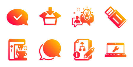 Chat message, Idea and Coffee maker line icons set. Algorithm, Get box and Approved message signs. Usb flash, Laptop repair symbols. Speech bubble, Solution. Technology set. Vector