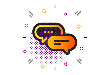 Chat comment sign. Halftone circles pattern. Dots message icon. Speech bubble symbol. Classic flat dots message icon. Vector