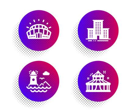 Sports stadium, Lighthouse and University campus icons simple set. Halftone dots button. Circus sign. Championship arena, Navigation, Town building. Attraction park. Buildings set. Vector Illusztráció
